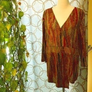 Coldwater Creek Faux Wrap Rust Tunic Size 1X